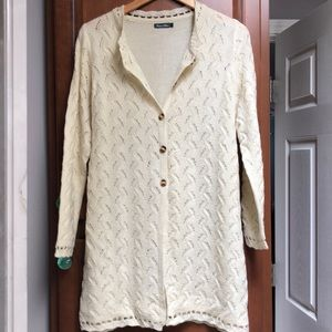 Lightweight Ivory Long Knit Sweater large